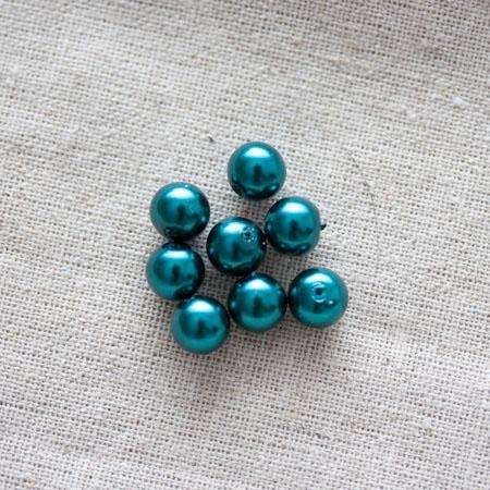 Perle verre ronde 8mm nacrée Vert canard x 200