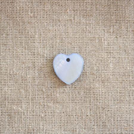 Perle Nacre 15mm plate Coeur Bleu x 100
