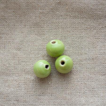 Perle porcelaine 13x11.5mm Vert x 50