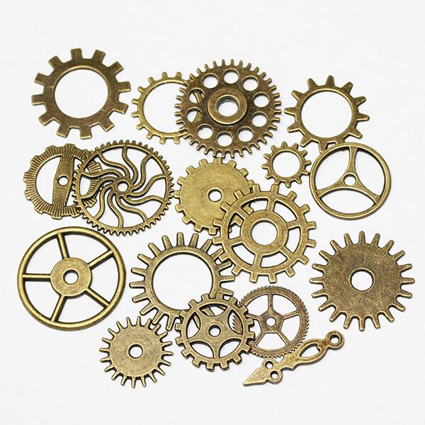 Ensemble de rouages 17 pièces bronze vieilli