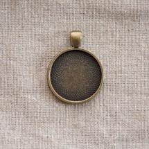 Pendentif Cadre de cabochon Rond 25mm Bronze vieilli x 1