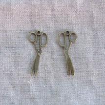 Breloque Ciseaux tordus Bronze vieilli x 3