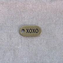 Breloque Plaque ovale XOXO x 2