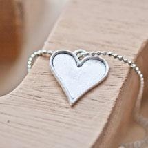 Breloque Coeur de carte Argent vieilli x 5