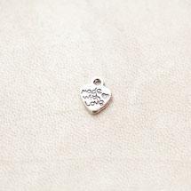 Breloque Coeur Made with love 12mm Argenté x 20pcs