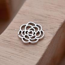 Breloque Fleur Rose Filigrane Argent vieilli x 8