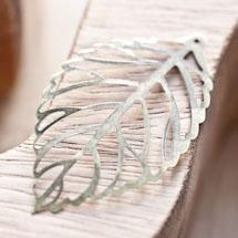 Breloque Grande feuille fine filigrane Bronze vieilli x 15