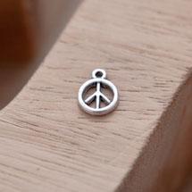 Breloque Mini Peace Argent vieilli x 16