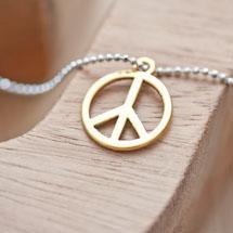 Breloque Peace and Love Doré x 8