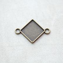 Connecteur à Cabochons Losange 15mm Bronze vieilli x 8pcs