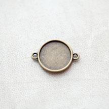 Connecteur à Cabochons Rond 16mm Bronze vieilli x 6pcs
