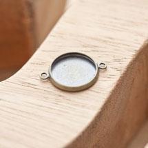 Connecteur à Cabochon Rond 14mm Laiton Bronze vieilli x 4pcs