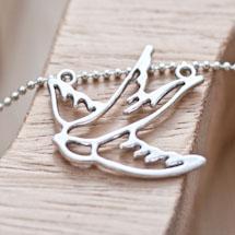 Connecteur Joli Oiseau fil Argent vieilli x 10
