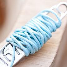 Cordon coton Coréen 1mm Bleu clair x 2m