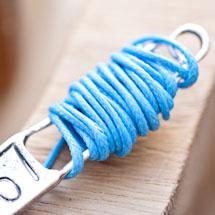 Cordon coton Coréen 1mm Bleu turquoise x 2m