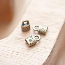 Embout à coller 10x6.5mm à motifs Bronze vieilli x 10