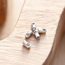 Embout pour cordon à coller 3.2mm Argent gris x 16