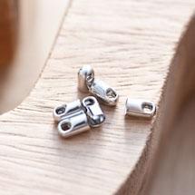 Embout pour cordon à coller 4mm Argent gris x 16