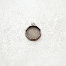 Pendentif à Cabochon Rond 12mm Bronze vieilli x 8pcs