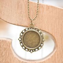 Pendentif Cadre de cabochon Rond 20mm Vintage Bronze vieilli x 1