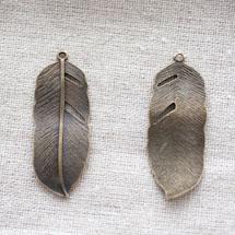 Breloque Grande feuille Bronze vieilli x 1