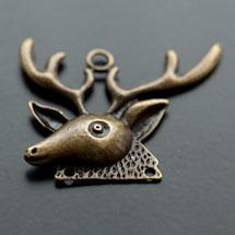 Pendentif Chandelier Tête de Cerf Bronze vieilli x 3