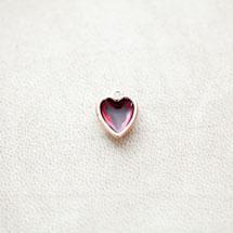 Pendentif Coeur 13mm Doré Émaillé Rouge Transparent x 1pc