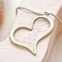 Pendentif Coeur fil penché Bronze vieilli x 4