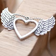 Pendentif Coeur fil volant Argent vieilli x 2