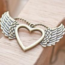 Pendentif Coeur fil volant Bronze vieilli x 2