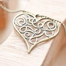 Pendentif Coeur filigrane plat Bronze vieilli x 3