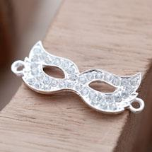 Pendentif Connecteur Masque Strass Crystal x 1