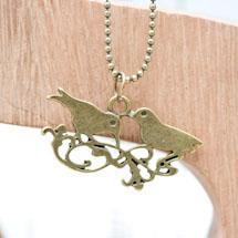 Pendentif Double oiseaux Bronze vieilli x 3