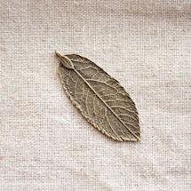 Pendentif Grande feuille fine Bronze vieilli x 2