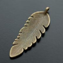 Pendentif Grande Plume 56mm Bronze vieilli x 3
