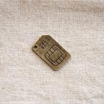 Pendentif Puce électronique Bronze vieilli x 3