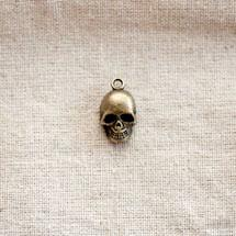 Pendentif Tête de mort/Skull relief Bronze vieilli x 2