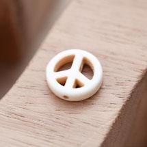 Perle de Gemme Peace 15mm Blanc x 16