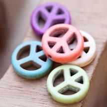 Perle de Gemme Peace 15mm Couleur Mixte x 13