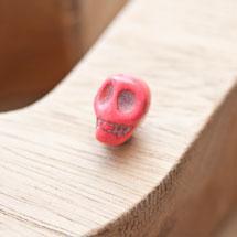 Perle de gemme 10mm Tête de mort Rose x 6