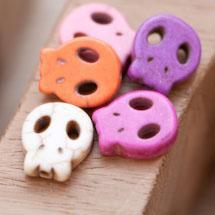 Perle de Gemme Tête de mort - Skull 15mm Plat Couleur Mixte x 12