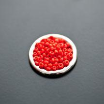 Perle de Rocaille 2mm Verre Rouge Orange x 174pcs