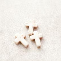Perle de Gemme Petite Croix 16mm Blanc x 10