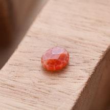 Perle en Agate Ovale 10x8mm Facettes Rouge x 1pc