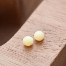 Perle en Corail Rond 6mm Jaune Pastel x 7