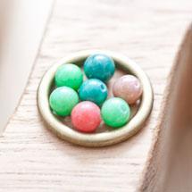 Perle en Jade 6mm Couleurs mixtes x 14