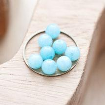 Perle en Jade Ronde 6mm Bleu clair x 12