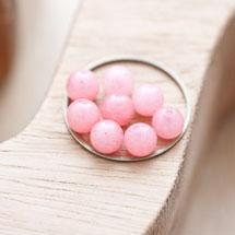 Perle en Jade Ronde 6mm Rose x 14