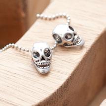 Perle en métal 15x8mm Tête de mort Argent vieilli x 6