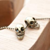 Perle en métal 15x8mm Tête de mort Bronze vieilli x 6